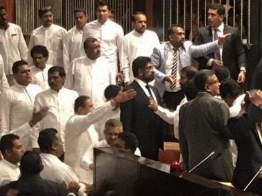 Chaos reigns in Sri Lanka Parliament as Mahinda Rajapaksa supporters clash with UNP MPs, threaten Speaker Karu Jayasuriya