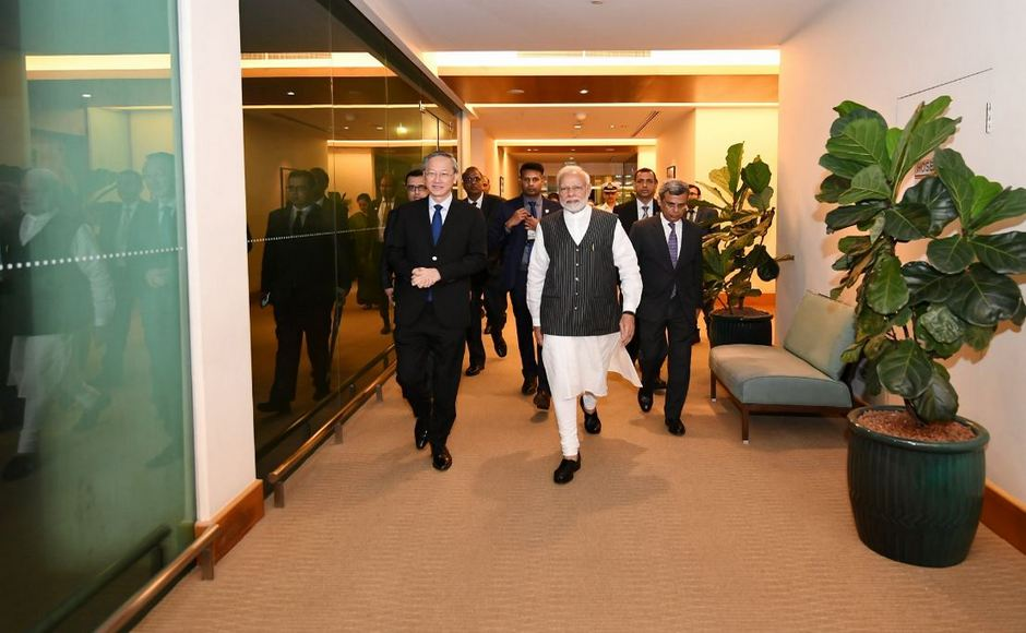 Narendra Modi in Singapore: PM meets Mike Pence on sidelines Fintech Summit, delivers keynote address at event