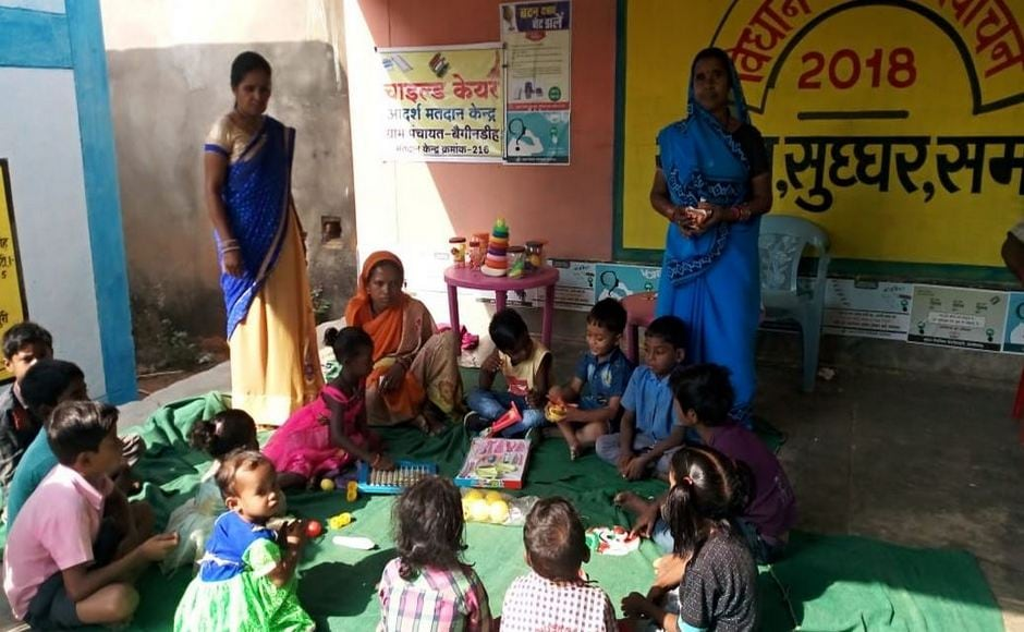 Child care centers were set up near several polling booths in Raigarh district so children could be looked after while the parents went to vote. Twitter/CEOChhattisgarh
