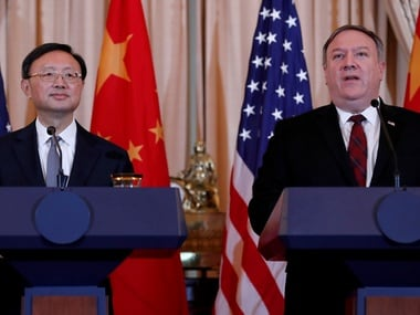 US Secretary of State Mike Pompeo along with Chinese Communist Party Office of Foreign Affairs Director Yang Jiechi in Washington. Reuters