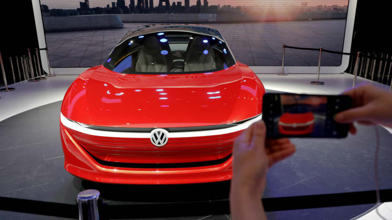 Volkswagen's I.D. Vizzion model car. Image: Reuters