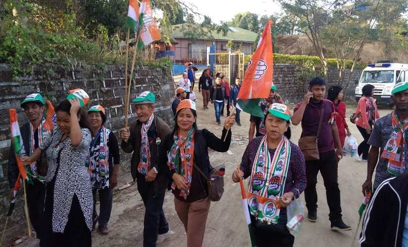 Woman campaigners from congress in front Rajiv Gandhi stadium, Aizawl. 101Reporters