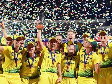 The Australian women's team celebrates winning the 2018 World T20. ICC