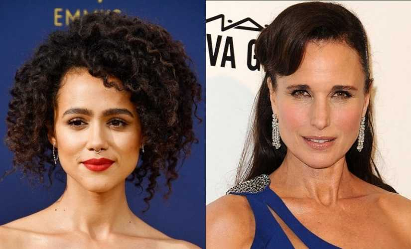 Nathalie Emmanuel and Andie MacDowell. Images from Twitter