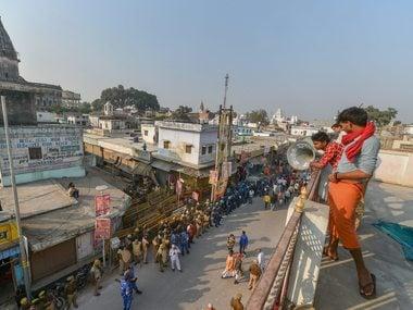 Tight security arrangements near Hanumanghari in Ayodhya. PTI