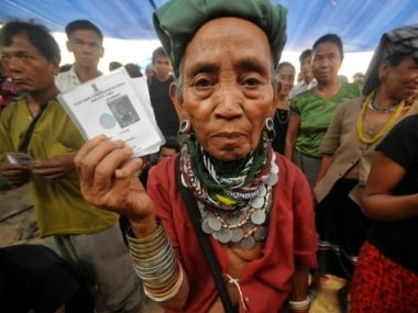 File image of Bru voters waiting to cast their ballots during the 2014 election for Mizoram's lone Lok Sabha seat.