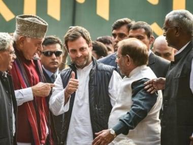 CPM leader Sitaram Yechury, National Conference president Farooq Abdullah, Congress president Rahul Gandhi, LJD president Sharad Yadav during the Kisan Mukti March in New Delhi. PTI