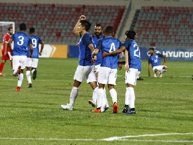 Indian football players celebrate their goal against Jordan. Image courtesy: Twitter @IndianFootball