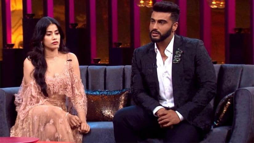 Janhvi Kapoor and Arjun Kapoor in a still from Koffee with Karan season 6