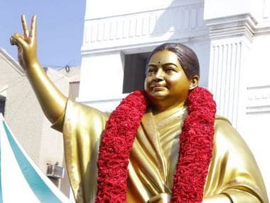 Image of Jayalalithaa's new statue unveiled at AIADMK headquarters. Twitter/@AIADMKOfficial