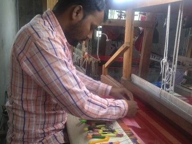 A weaver at the loom in Yeola. Pic courtesy: Sulekha Nair