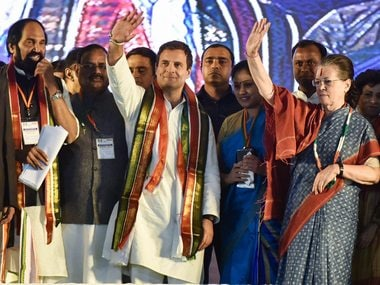 Sonia and Rahul Gandhi with other Congress leaders at an election rally in Medchal, Telangana. PTI
