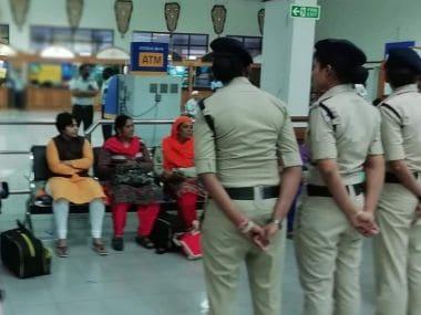 Activist Trupti Desai at the Cochin International Airport. Image sources by TK Devasia