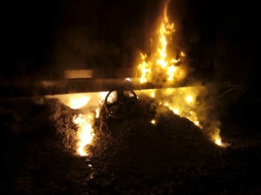 Two wagons of a goods train caught fire near Dahanu in Palghar district of Maharashtra. ANI
