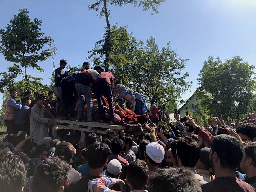 The funeral of Sameer Ahmed Bhat, alias Sameer Tiger, the Hizbul Mujahideen's main recruiter who was killed in April in Drabgam. He was among a dozen top militant commanders killed in Kashmir this year. Image Courtesy: Sameer Yasir