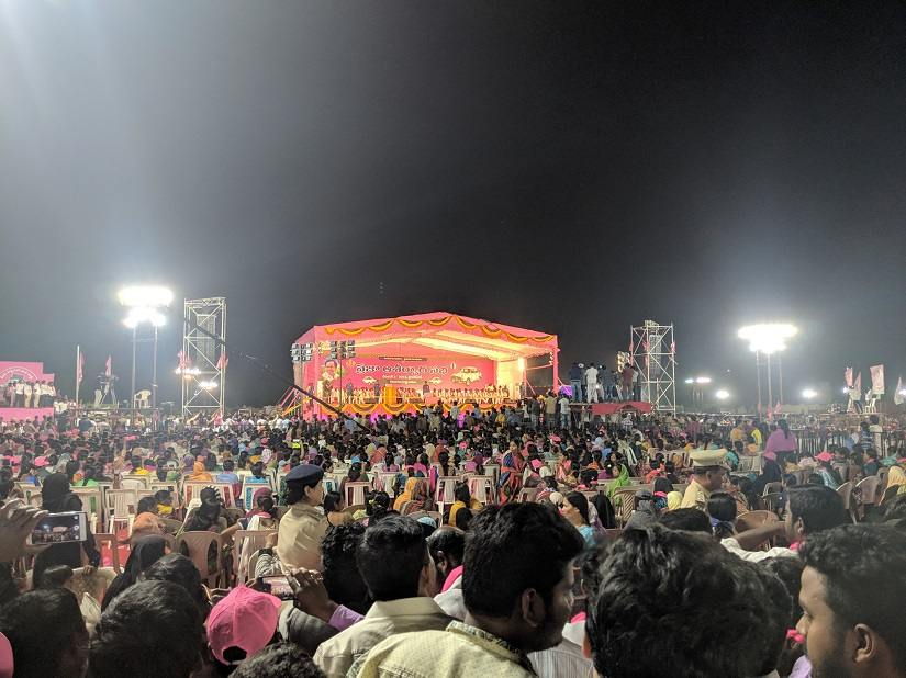 A TRS rally for the Telangana elections at Parade Grounds, Hyderabad. Image Courtesy: Rahul M