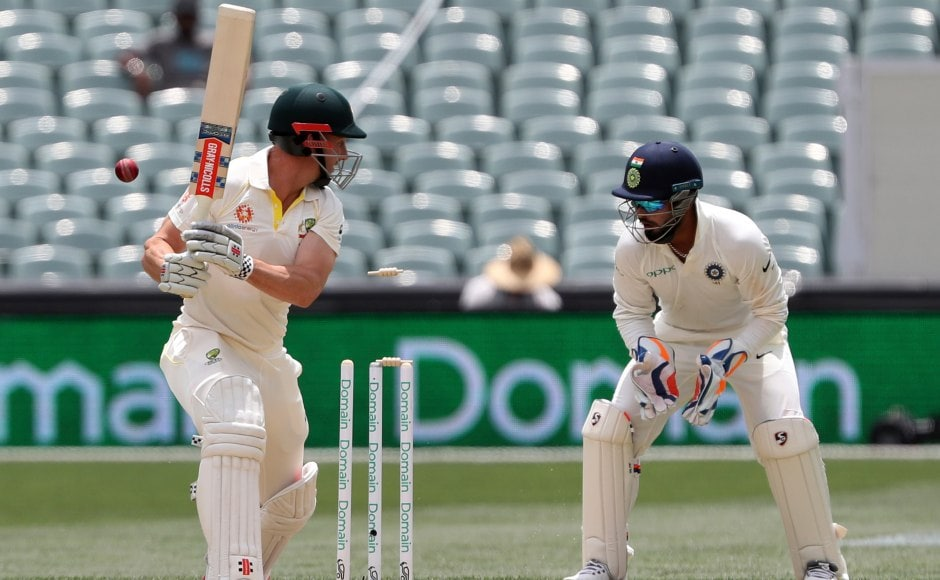 Shaun Marsh's poor Test run continues after he drags one back on his stumps for 2. AP