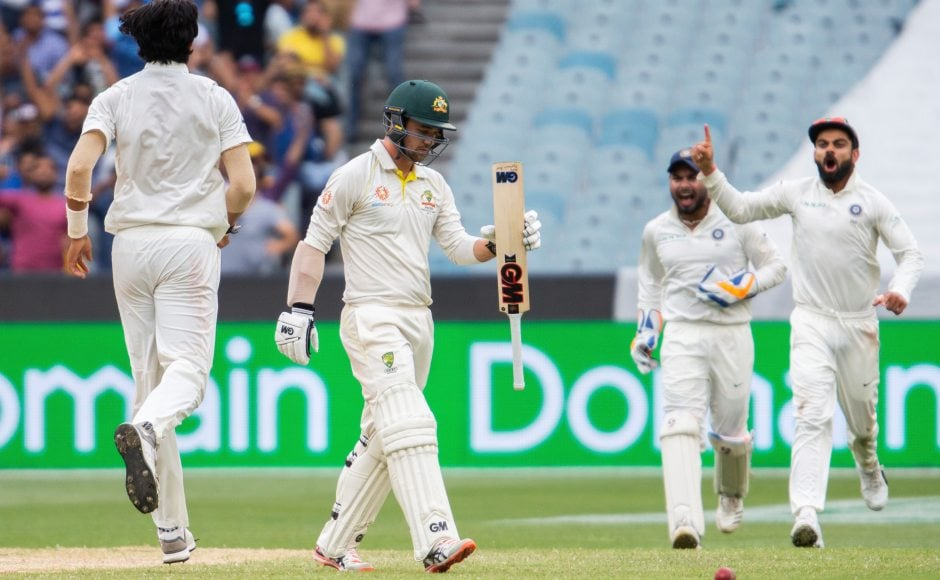 Ishant Sharma was once again proved to be Travis Head's nemesis. The batsmen dragged a delivery onto his stumps bringing an end to his stay in the middle. AP