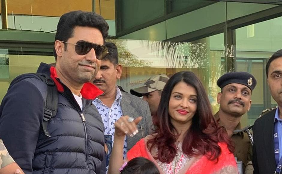 Abhishek and Aishwarya Rai Bachchan arrive to attend the pre-wedding festivities of of Isha Ambani and Anand Piramal.