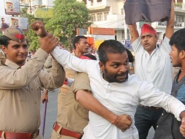 Student leader Ankit Singh Babu was jailed for waiving black flags at Yogi Adityanath's convoy. Image courtesy: Saurabh Sharma
