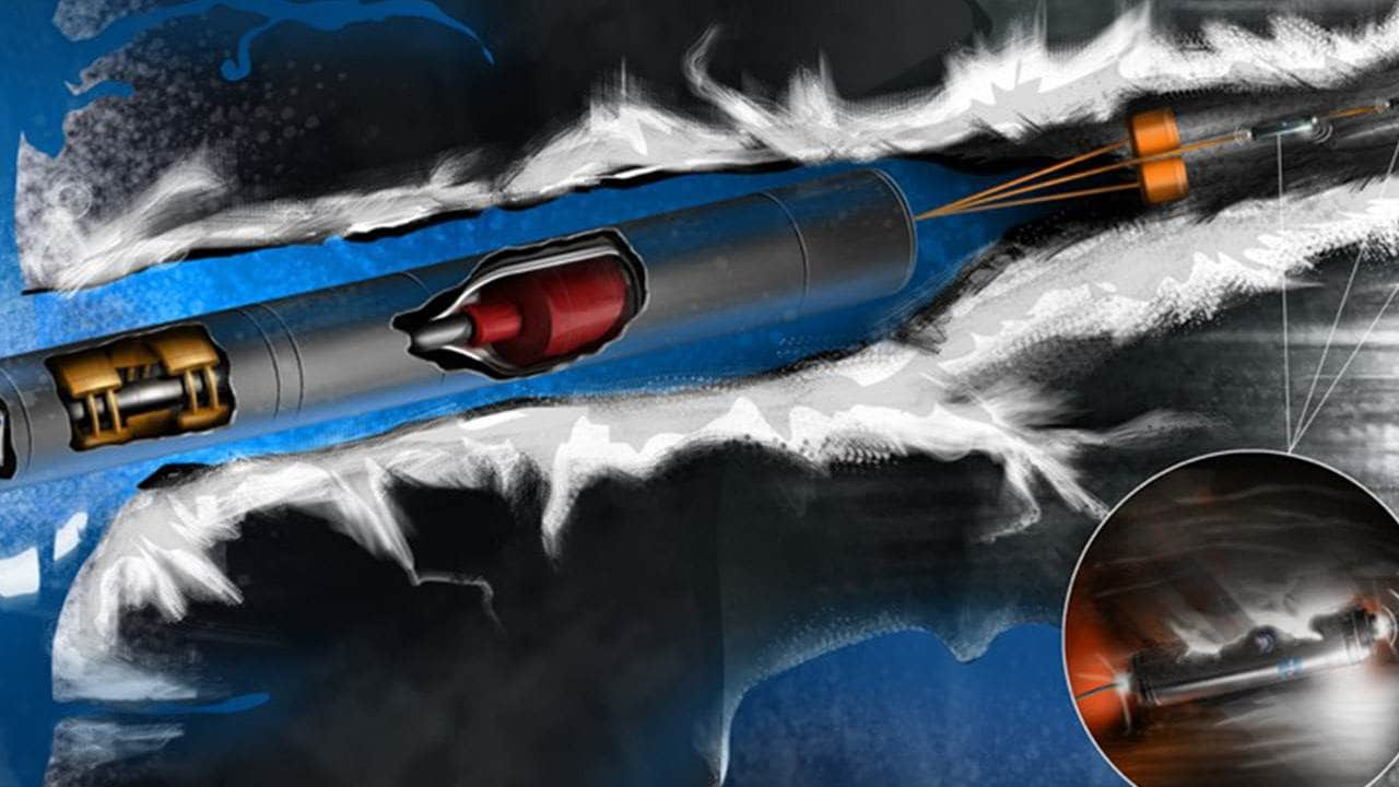 Artist's rendering of the Europa tunnelbot. Image credit: NASA Glenn Research Centre