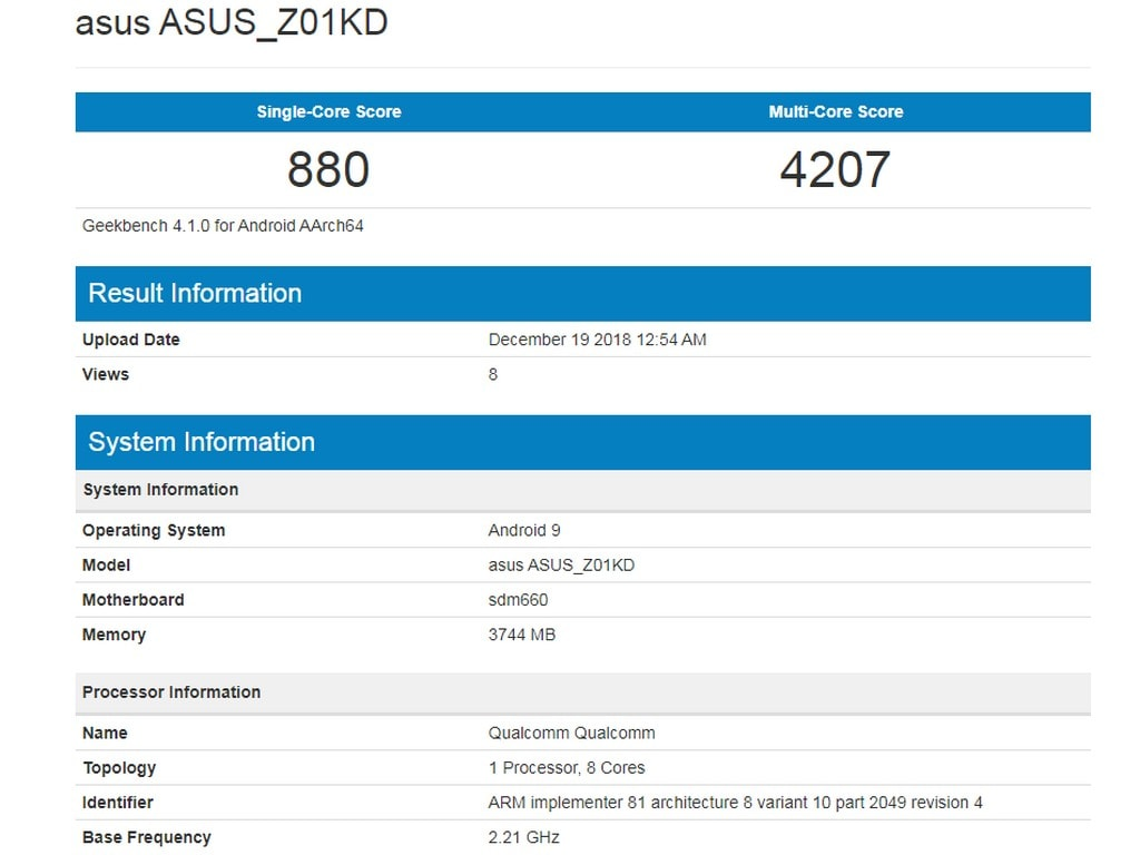 Asus Zenfone 4 with Snapdragon 660 Soc gets listed on Geekbench with Android 9 Pie
