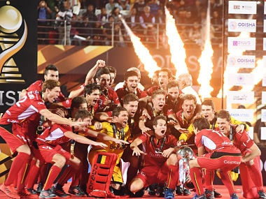 Belgium's players celebrate with the World Cup trophy after defeating Netherlands in the final. AFP