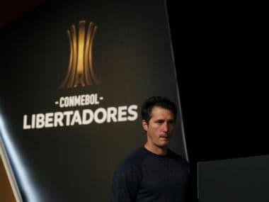 Boca Juniors coach Guillermo Barros Schelotto during the press conference. Reuters