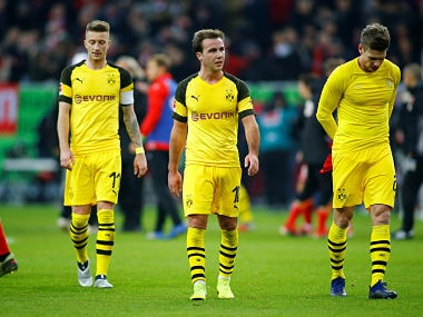 Soccer Football - Bundesliga - Fortuna Dusseldorf v Borussia Dortmund - Esprit Arena, Dusseldorf, Germany - December 18, 2018 Borussia Dortmund's Marco Reus, Mario Goetze and Lukasz Piszczek react after the match REUTERS/Thilo Schmuelgen DFL regulations prohibit any use of photographs as image sequences and/or quasi-video - RC1D00E91A10