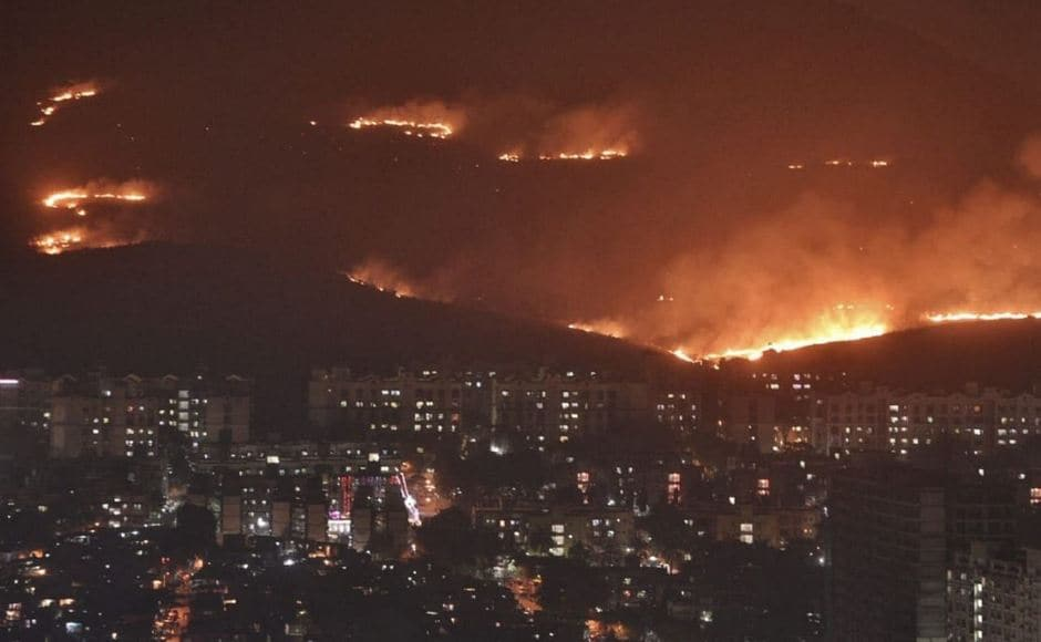 The fire broke out in the forested hills in Habalpada and quickly spread to other areas. A thick plume of smoke was visible from far away places including the Western Express Highway. Twitter/@AatishMohite