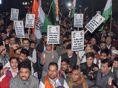 Delhi Congress protests against AAP government. PTI