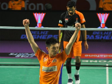 Ahmedabad Smash Masters' Daren Liew celebrates after beating Delhi Dashers' HS Prannoy. PBL