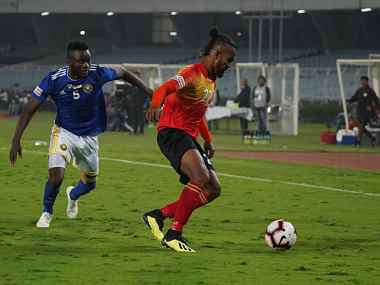 East Bengal's Joby Justin in action against Real Kashmir. Image Courtesy: I-League
