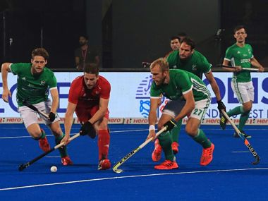 Action from the Hockey World Cup match between Ireland and England. Image courtesy: Twitter @sports_odisha