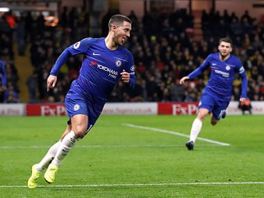 """Soccer Football - Premier League - Watford v Chelsea - Vicarage Road, Watford, Britain - December 26, 2018 Chelsea's Eden Hazard celebrates scoring their first goal Action Images via Reuters/Paul Childs EDITORIAL USE ONLY. No use with unauthorized audio, video, data, fixture lists, club/league logos or """"live"""" services. Online in-match use limited to 75 images, no video emulation. No use in betting, games or single club/league/player publications. Please contact your account representative for further details. - RC146F0E4DE0"""