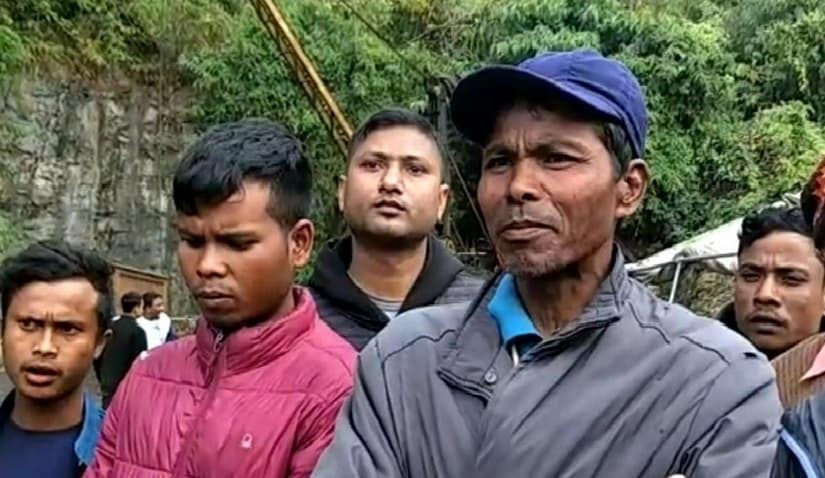 "Family members of the miners trapped in the ""rat hole"" in Meghalaya's East Jaintia Hills. Image Courtesy: 101 reporters"