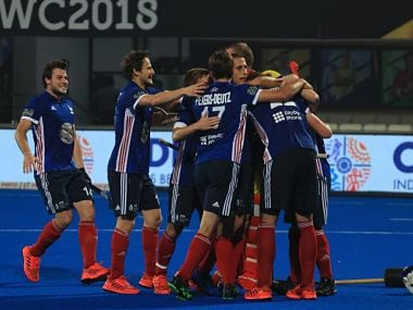 France players celebrate a goal against Argentina on Thursday. Image courtesy: Twitter/ @sports_odisha