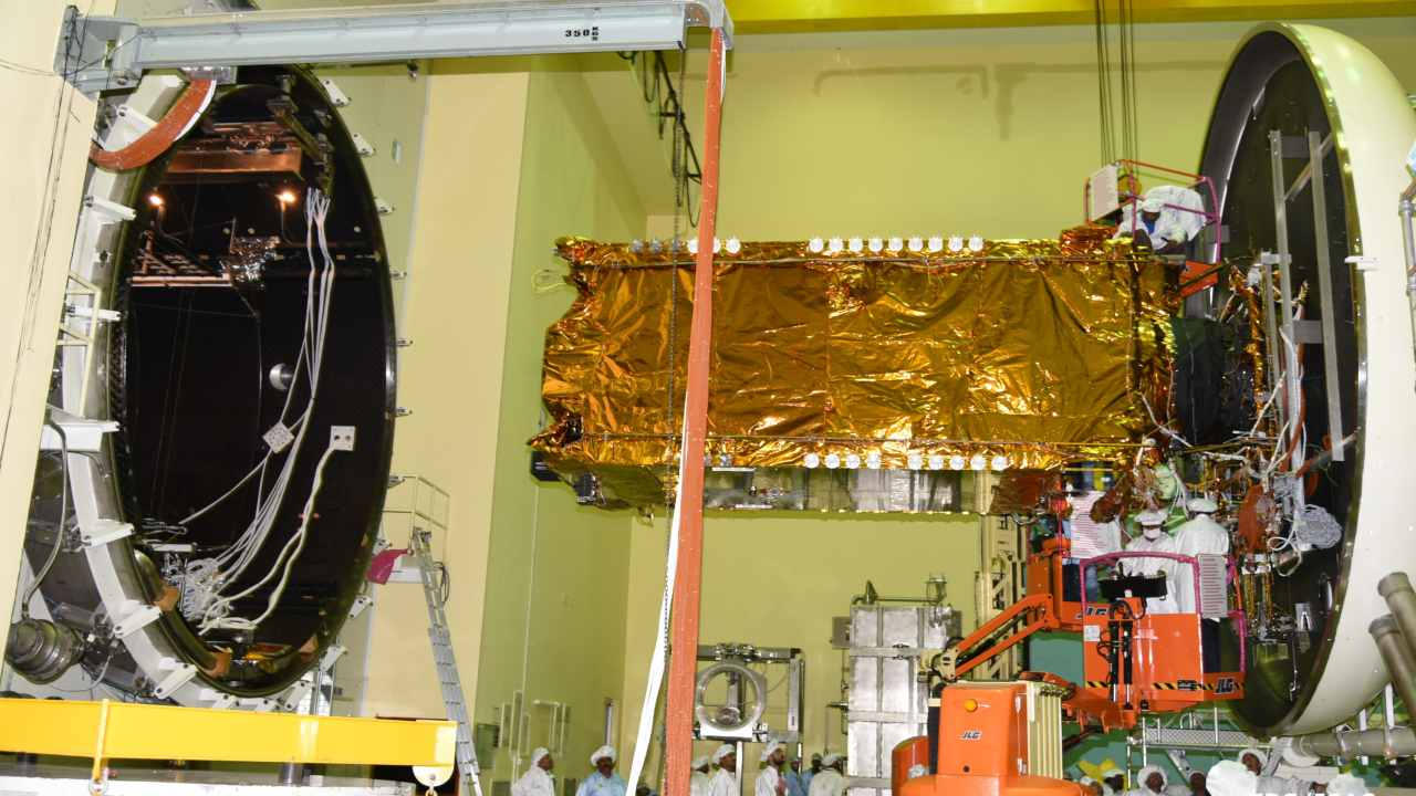 GSAT-11 being loaded into a thermovacc chamber for transport. Image courtesy: ISRO