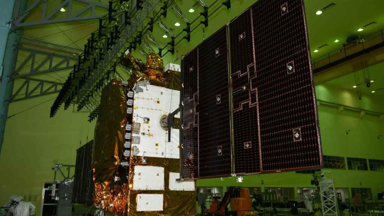 The miliary satellite communications GSAT-7A with its solar panel opened up. Image courtesy: ISRO