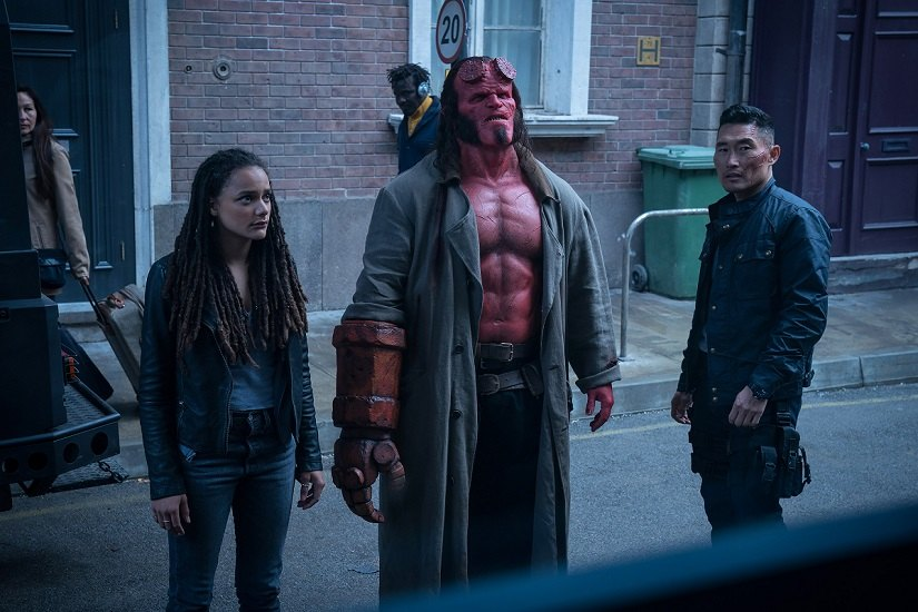 Sasha Lane, David Harbour Daniel Dae Kim in Hellboy. Image via Twitter