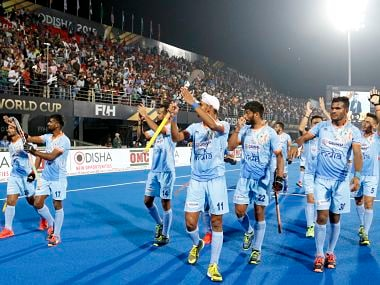 India players acknowledge the Bhubaneswar crowd after a match. Image courtesy: Hockey India