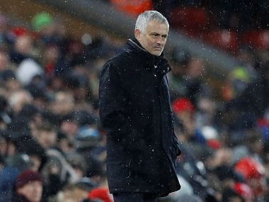 """Soccer Football - Premier League - Liverpool v Manchester United - Anfield, Liverpool, Britain - December 16, 2018 Manchester United manager Jose Mourinho looks on REUTERS/Phil Noble EDITORIAL USE ONLY. No use with unauthorized audio, video, data, fixture lists, club/league logos or """"live"""" services. Online in-match use limited to 75 images, no video emulation. No use in betting, games or single club/league/player publications. Please contact your account representative for further details. - RC1B1435CC60"""