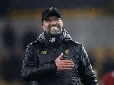 """Soccer Football - Premier League - Wolverhampton Wanderers v Liverpool - Molineux Stadium, Wolverhampton, Britain - December 21, 2018 Liverpool manager Juergen Klopp celebrates at the end of the match Action Images via Reuters/Carl Recine EDITORIAL USE ONLY. No use with unauthorized audio, video, data, fixture lists, club/league logos or """"live"""" services. Online in-match use limited to 75 images, no video emulation. No use in betting, games or single club/league/player publications. Please contact your account representative for further details. - RC1BE7031700"""