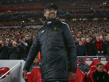 Liverpool coach Juergen Klopp watches his team during the Champions League Group C soccer match between Liverpool and Napoli at Anfield stadium in Liverpool, England, Tuesday, Dec. 11, 2018.(AP Photo/Dave Thompson)