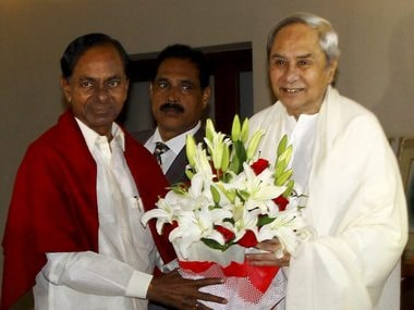 Naveen Patnaik greets K Chandrasekhar Rao in Bhubaneswar on Sunday. PTI