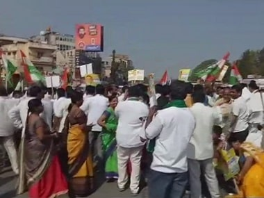 Supporters of Congress leader Ramalinga Reddy protested Anekal on Monday. ANI