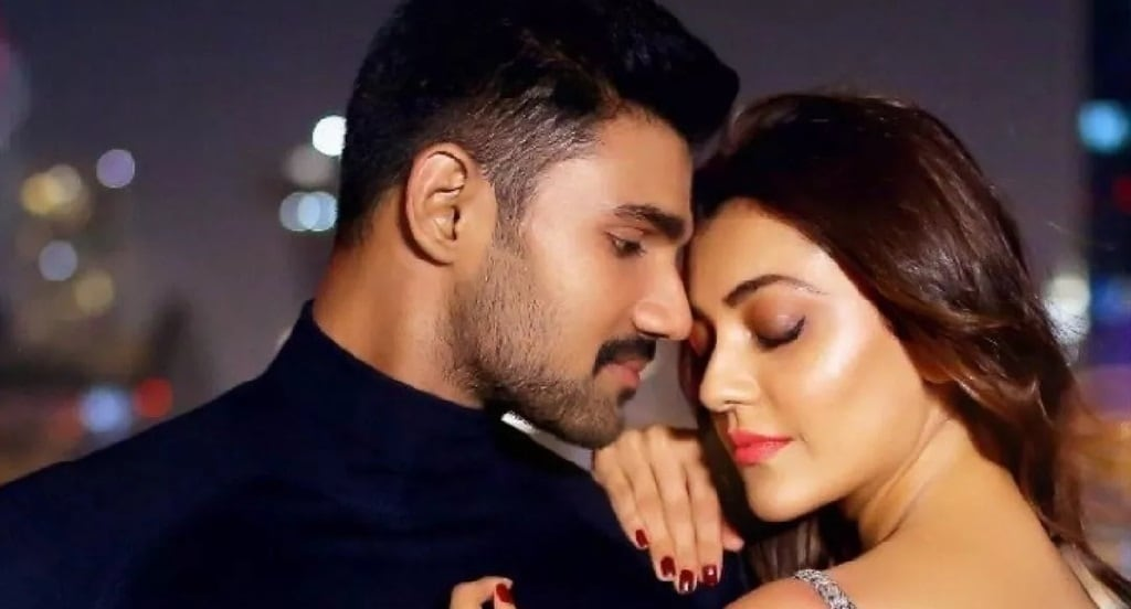 Bellamkonda Sai Sreenivas and Kajal Aggarwal in a still from Kavacham. YouTube