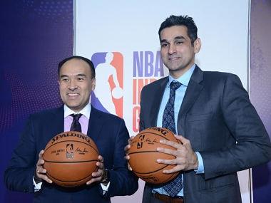 NBA Deputy Commissioner Mark Tatum with NBA India Managing Director Yannick Colaco in Mumbai on Thursday. Image courtesy: NBA