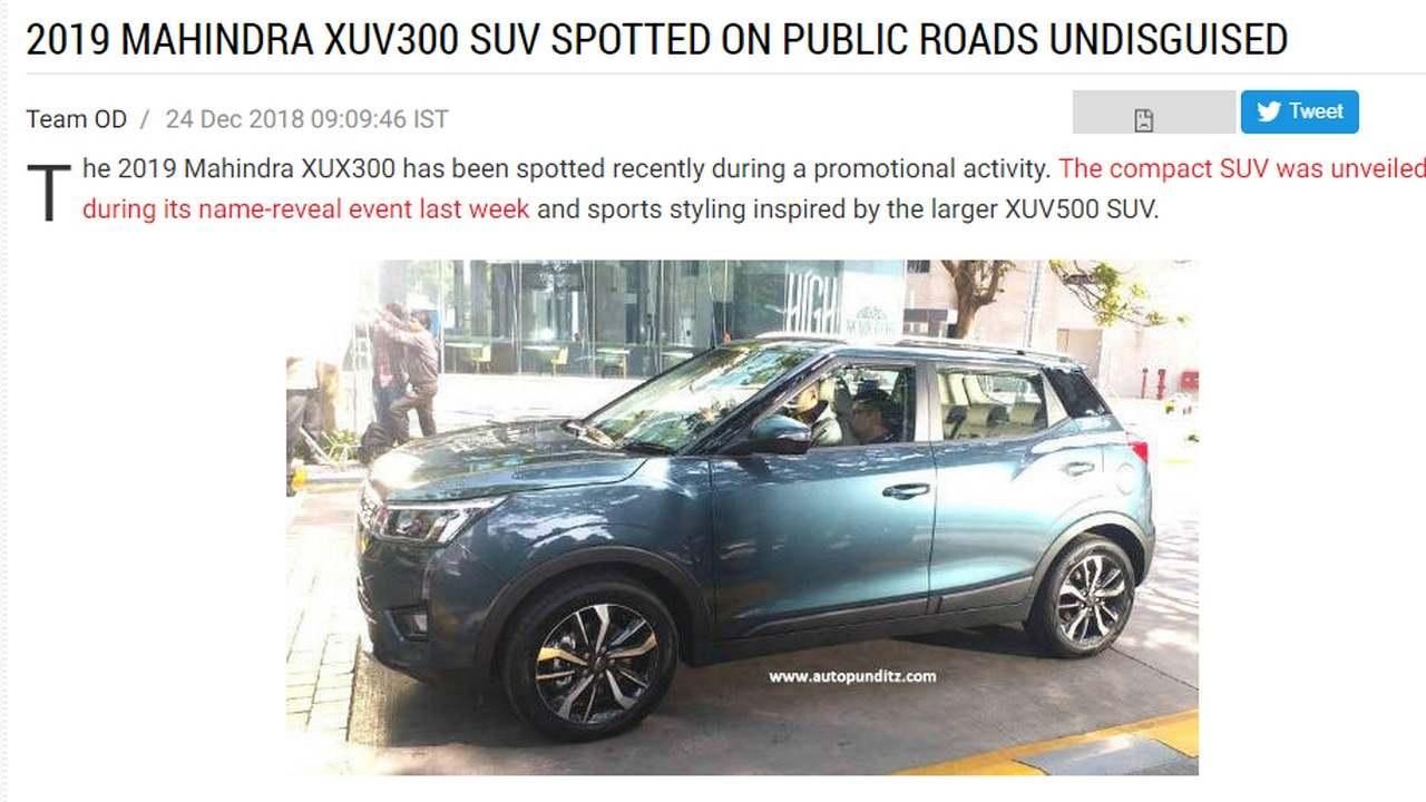 Mahindra XUV 300 spotted. Image: Overdrive