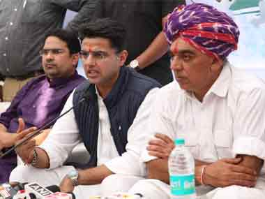 Congress leader Manvendra Singh with state party chief Sachin Pilot. Image courtesy Rangoli Agrawal